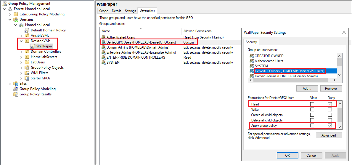 Displaying custom permissions for DeniedGPOUsers AD group