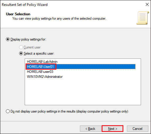Selecting user on remote PC