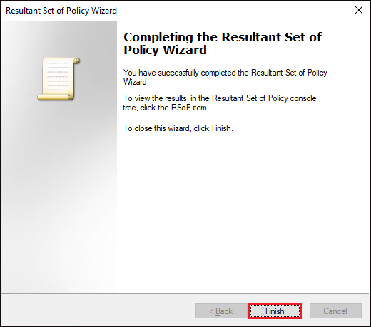 Resultant Set of Policy wizard complete