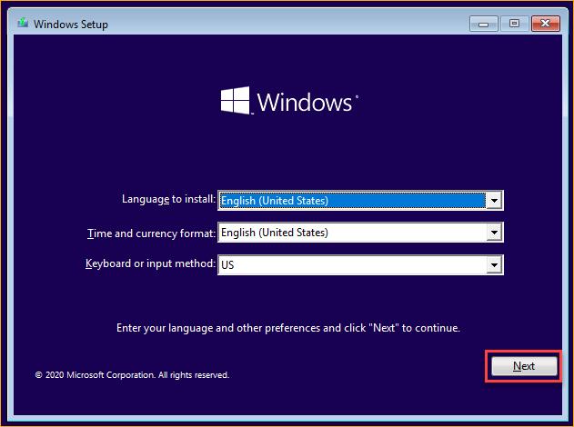 Clicking Next on the Windows setup