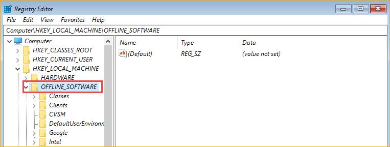 The loaded offline registry