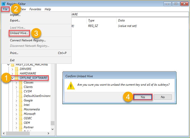 Unloading the offline registry file