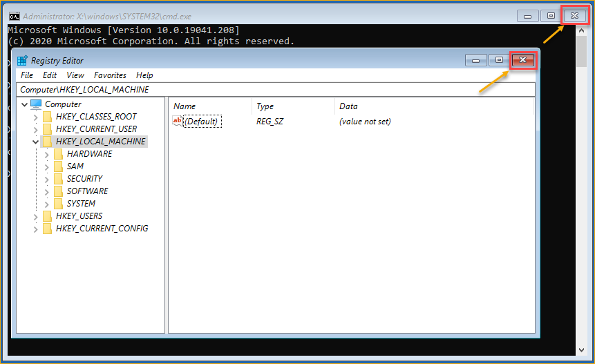 Closing the offline registry editor and the command prompt