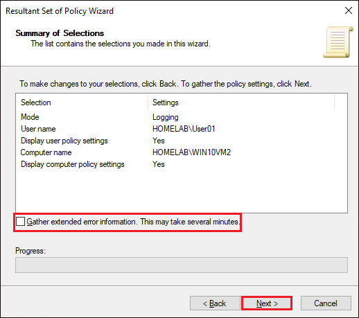 Resultant Set of Policy Wizard gather extended error information option
