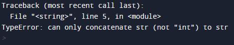Python error when using different data types