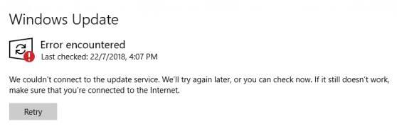 Windows Update Service Error.