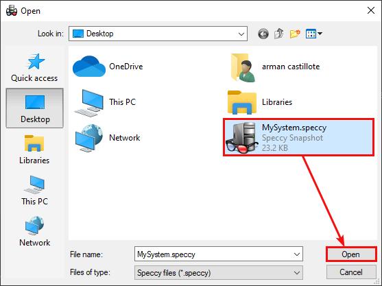 Selecting Snapshot File