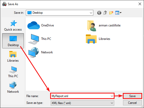 Choosing Report File's Saving Location