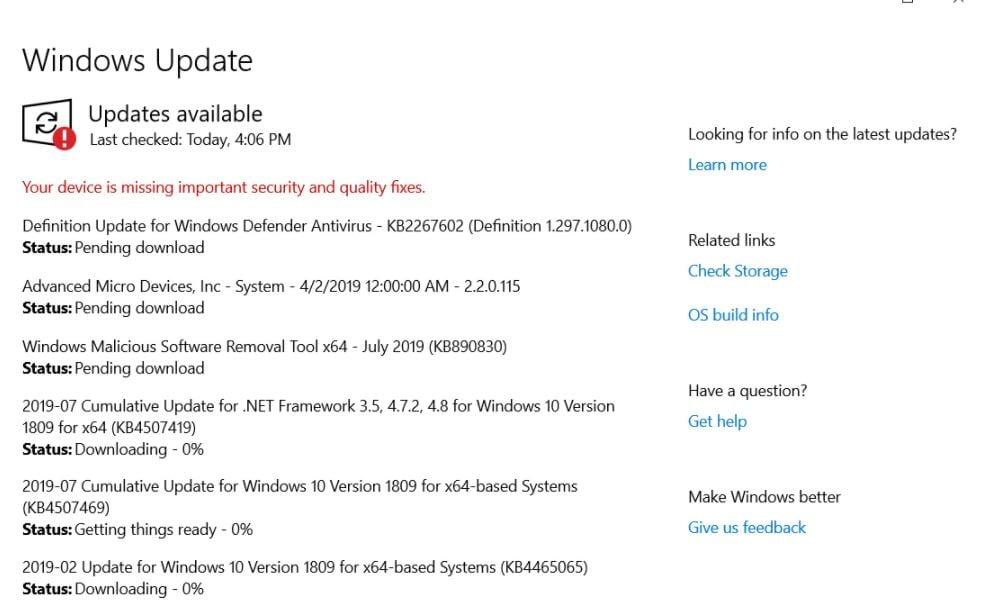 Windows Update pending installs