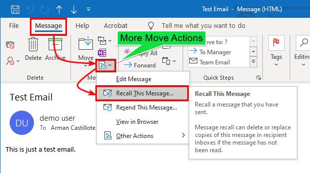 Accessing Recall Message Menu