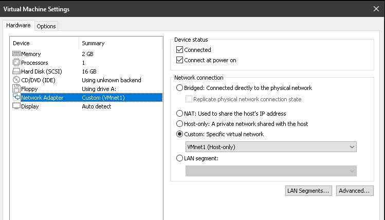 ATA-VM1 with Network Adaptor set to Custom(VMnet1)