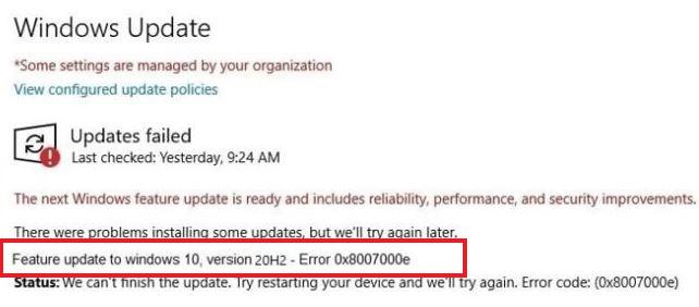 Feature update to Windows 10 0x8007000e error code