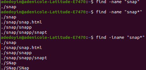 Finding Files and Directories via -name Test