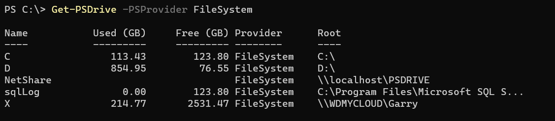 Get-PSDrive limit output to Provider Type