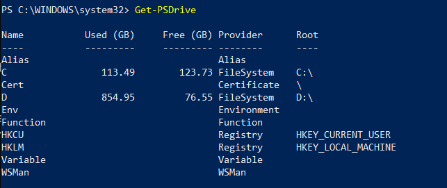 Show a list of all PS Drives available to your PowerShell session