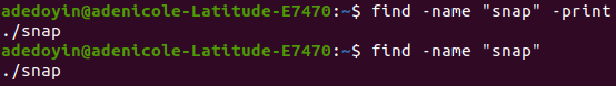 Printing output of results the find command produces with the -print action