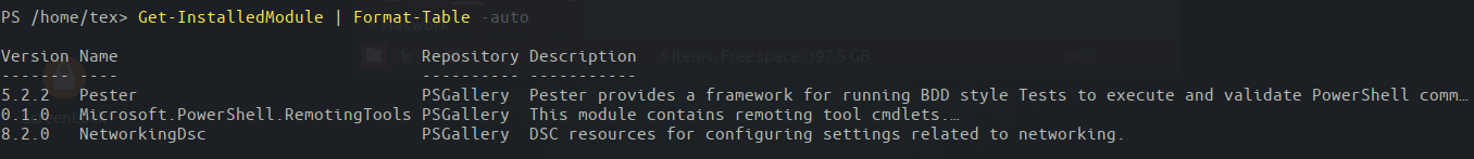 Retrieving a list of installed modules on PowerShell Core.
