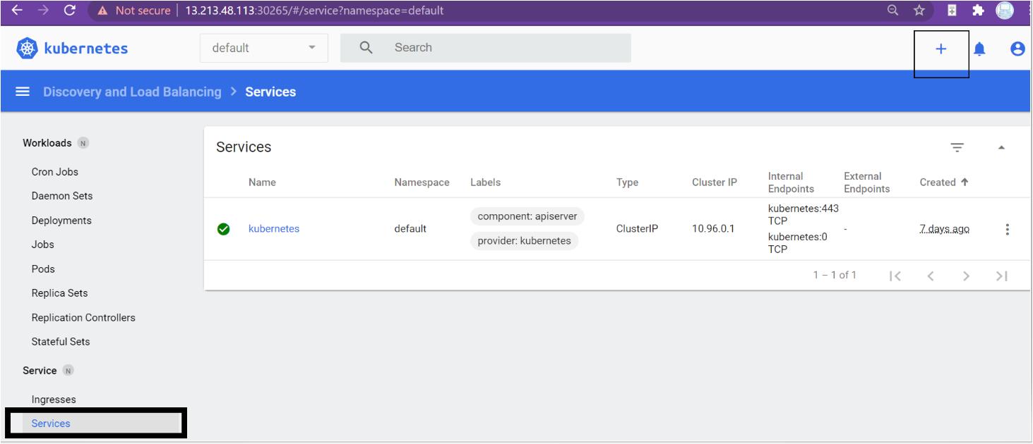 Kubernetes dashboard services menu