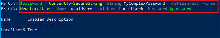 New-LocalUser cmdlet output