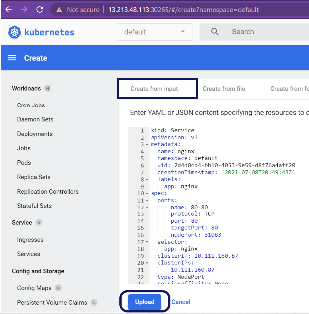 Creating the service in the Kubernetes dashboard.