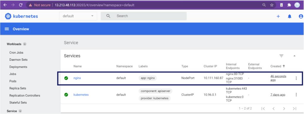 NGINX service is deployed on the Kubernetes dashboard.