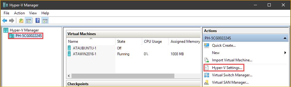 Opening the Hyper-V host settings