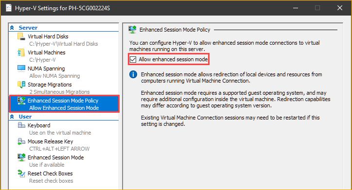 Enabling enhanced session mode on the Hyper-V host