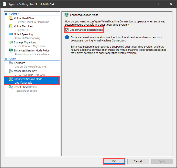 Enabling enhanced session mode on VMConnect