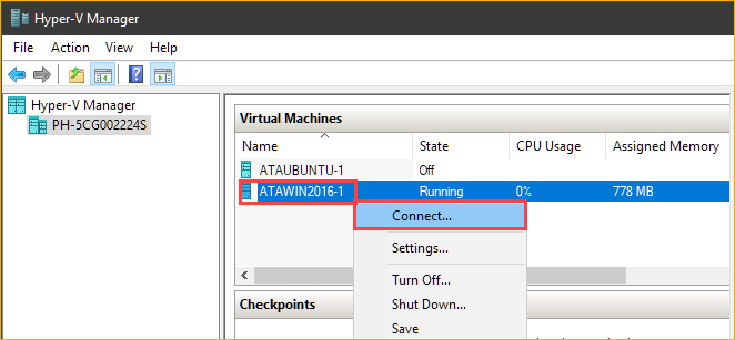 Connecting to the Hyper-V VM