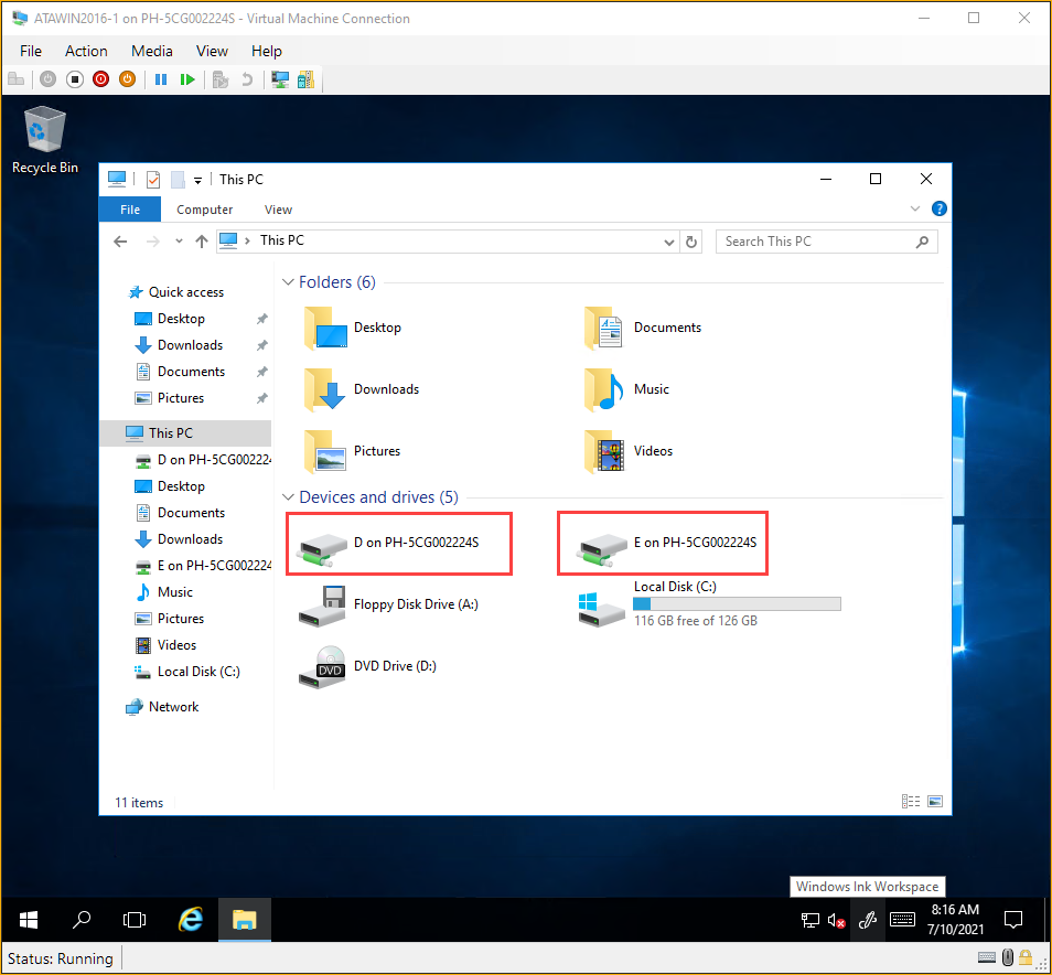 Viewing the drives list in File Explorer