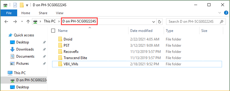 Accessing the USB drive contents inside the Hyper-V VM