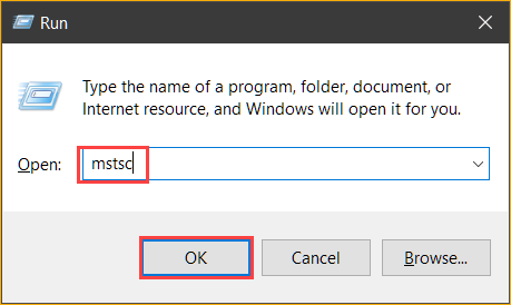 Opening the Remote Desktop Connection client