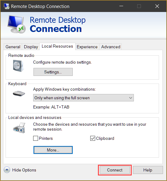 Click Connect to start the remote desktop session