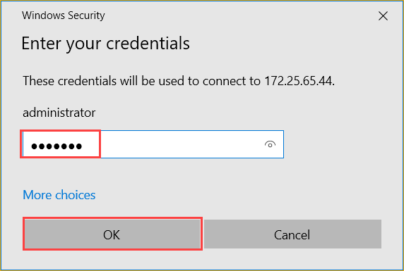 Enter credential password