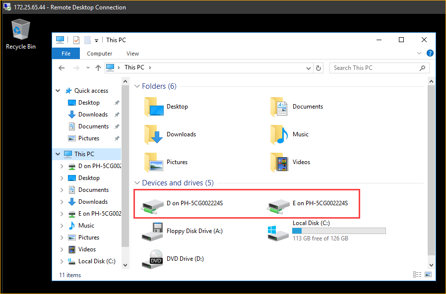 Confirming the USB drives are present inside the Hyper-V VM