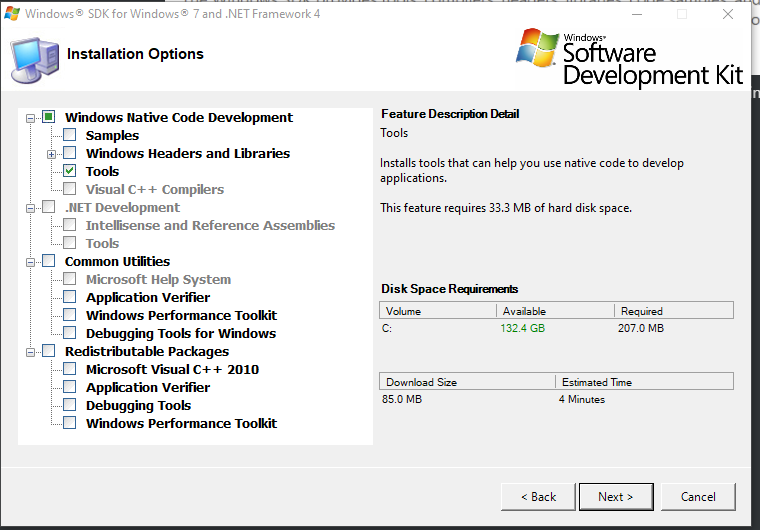 Selecting only Tools under the Windows Native Code Development section.