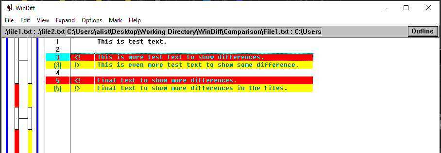 Demonstrating changed lines within files.