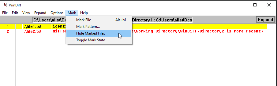 Hiding marked files.
