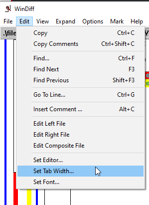 Setting tab width in WinDiff.