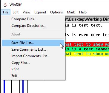 Exporting file list of compared files.