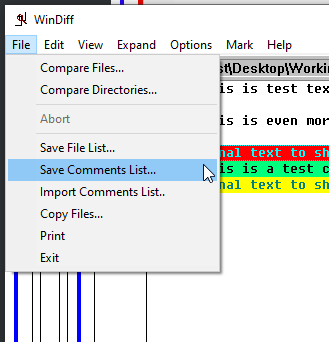 Exporting comments from a compared file.