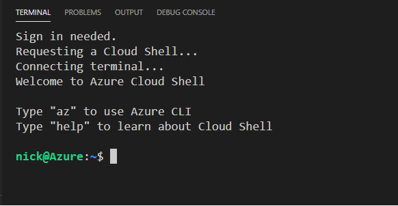 Active Cloud Session in VS Code Terminal