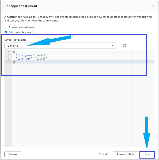 Configuring the test events