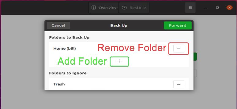 Selecting folders to backup