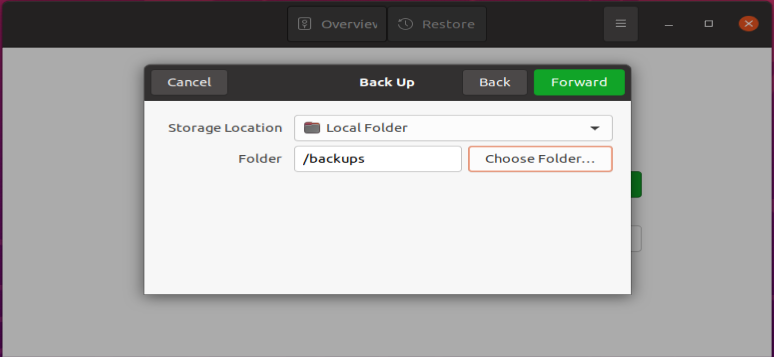Selecting a backup location
