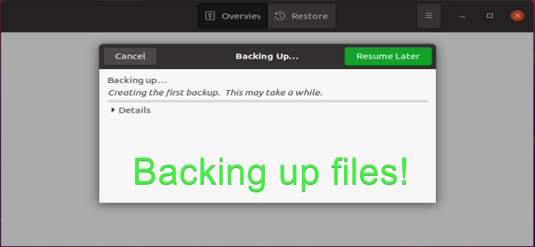 Backing up files with Deja Dup