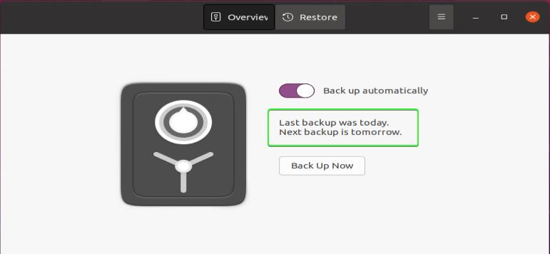 Deja Dup main menu - automatic daily backup