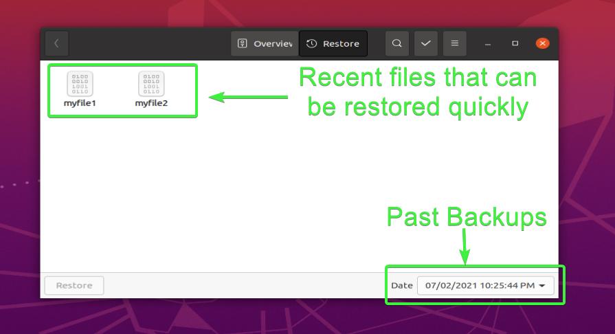 Choosing files to restore with Deja Dup