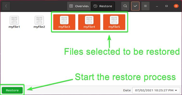 Restoring files with Deja Dup