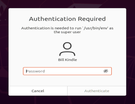 Authentication Prompt for opening Timeshift